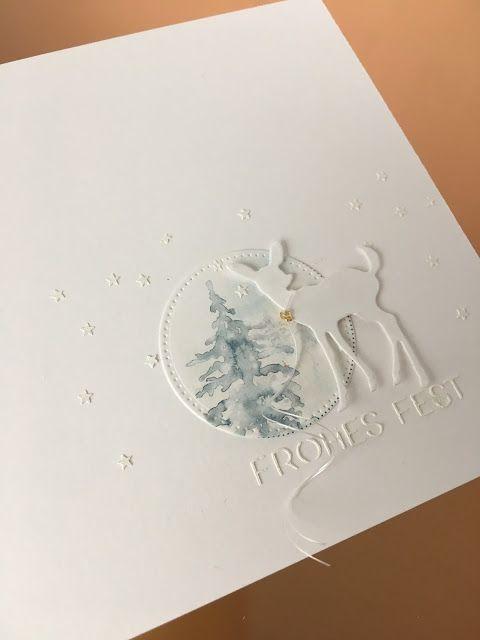 Heute wieder ein Kärtchen   mit dem süßen Rehkitz.     Außerdem kam die neuen   Stencil zum Einsatz   - besser gesagt ... zwei -   und...