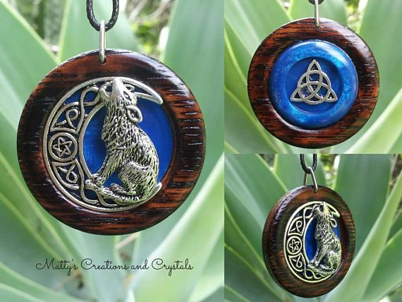 Triquetra and Wolf with Pentacle Moon Double Sided Pendant