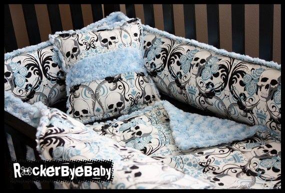 CUSTOM punk baby 4 piece crib bedding set fabric skull and crossbones guitar girl boy unisex