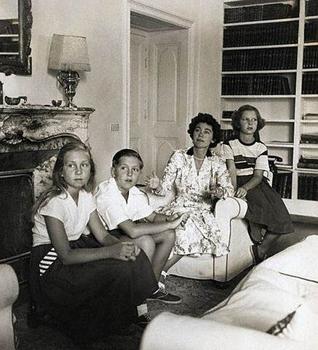 1954, Athens, Greece --- Queen Frederica of Greece sits with her children, Constantine, Irini, and Sophia. Constantine later ruled Greece as King from 1964 to 1974, and Sophia married King Juan Carlos of Spain.