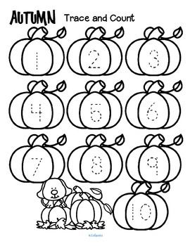 ***FREE*** Here are three fall-themed tracing and counting pages for early…