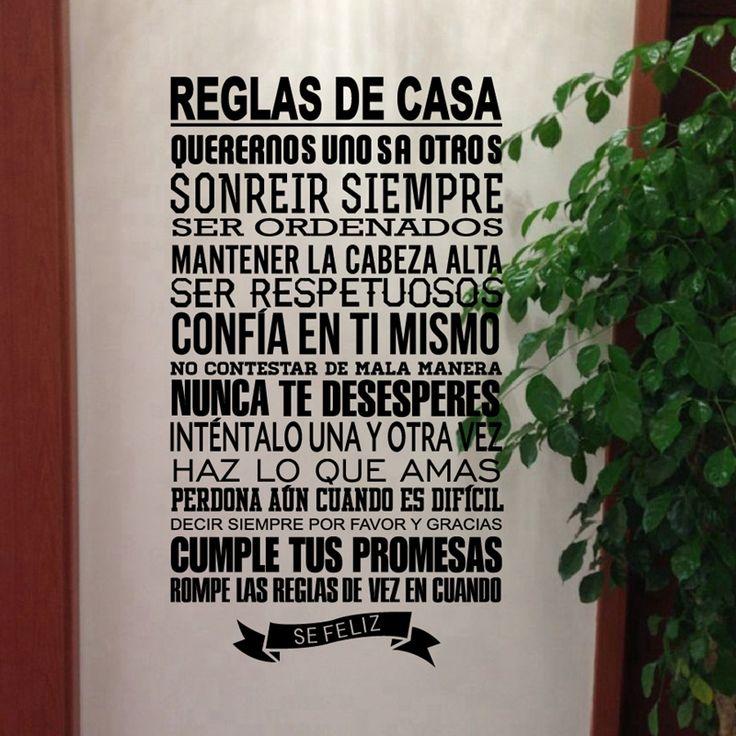 Espanhol regras da casa adesivos de parede decoração da sua casa, Decalque Do vinil Espanhol Versão Família Citações de Decoração Para Casa frete grátis