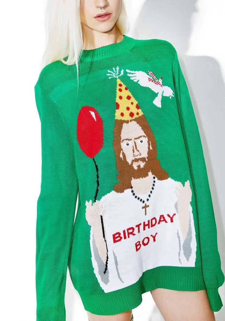 Tipsy Elves Happy Birthday Jesus Sweater -> Pull pour Noel