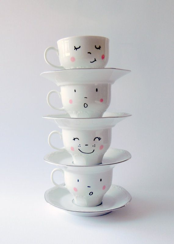 4 vintage hand painted smiling faces cups with pink cheeks