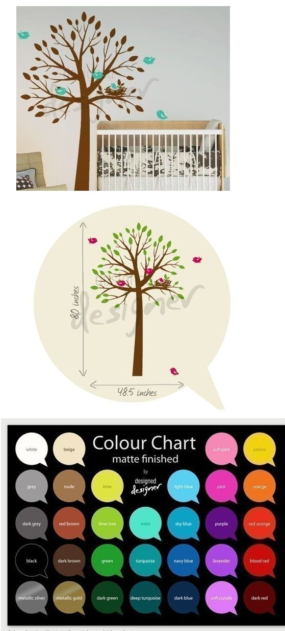 Birds Nesting in a Tree Wall Decal - Wall Sticker Outlet