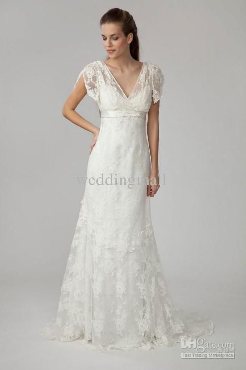 Cool  Awesome Empire V neck Short Sleeve Floor length Court Lace Wedding Dresses