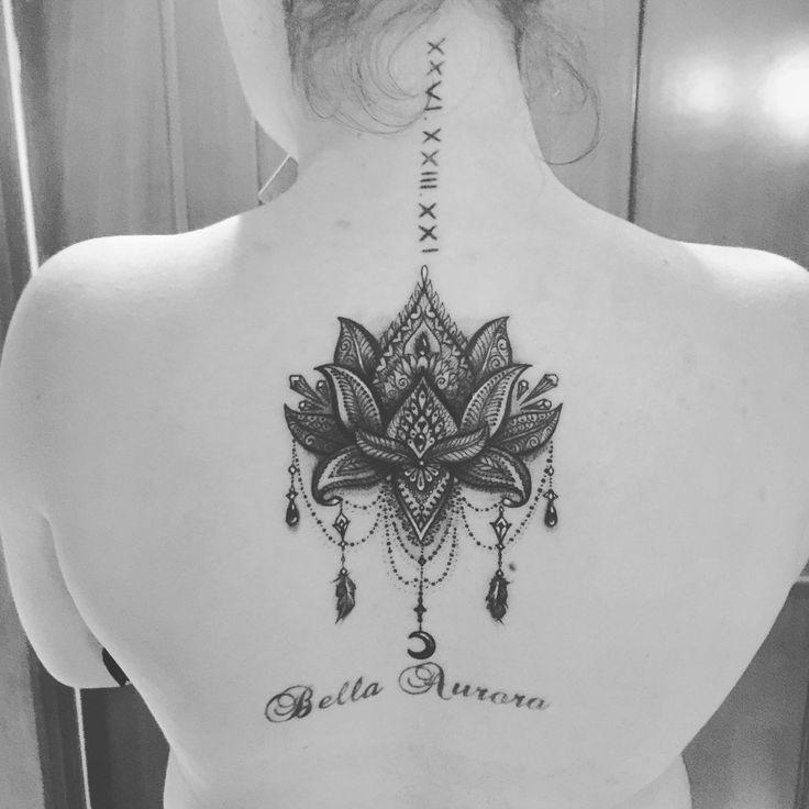 Lotus lace flower tattoo
