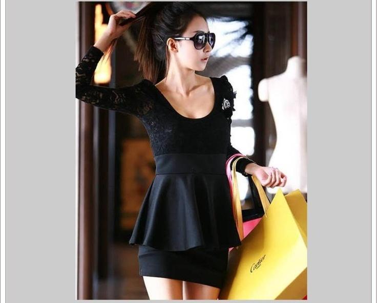 Sexy Vestido Negro Encaje Corto Manga Larga Envio Inmediato! - $ 275.00 en MercadoLibre