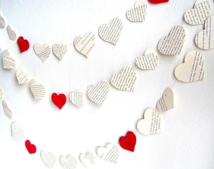 Paper hearts wedding garland, vintage book paper garland 12 ft, Valentines day garland, red heart party decor, felt hearts garland. $13.95, via Etsy.