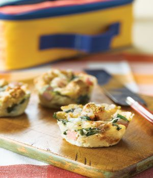 Here's another fun take on ordinary muffins - Cheesy Ham and Spinach. Bake these savory muffins in advance and store in an airtight container in the fridge until they are ready to be packed in your kids lunches. Pair with fresh veggies and a dip and you've got a healthy lunch time meal....For more ideas for school lunches visit http://school-lunch-ideas.net
