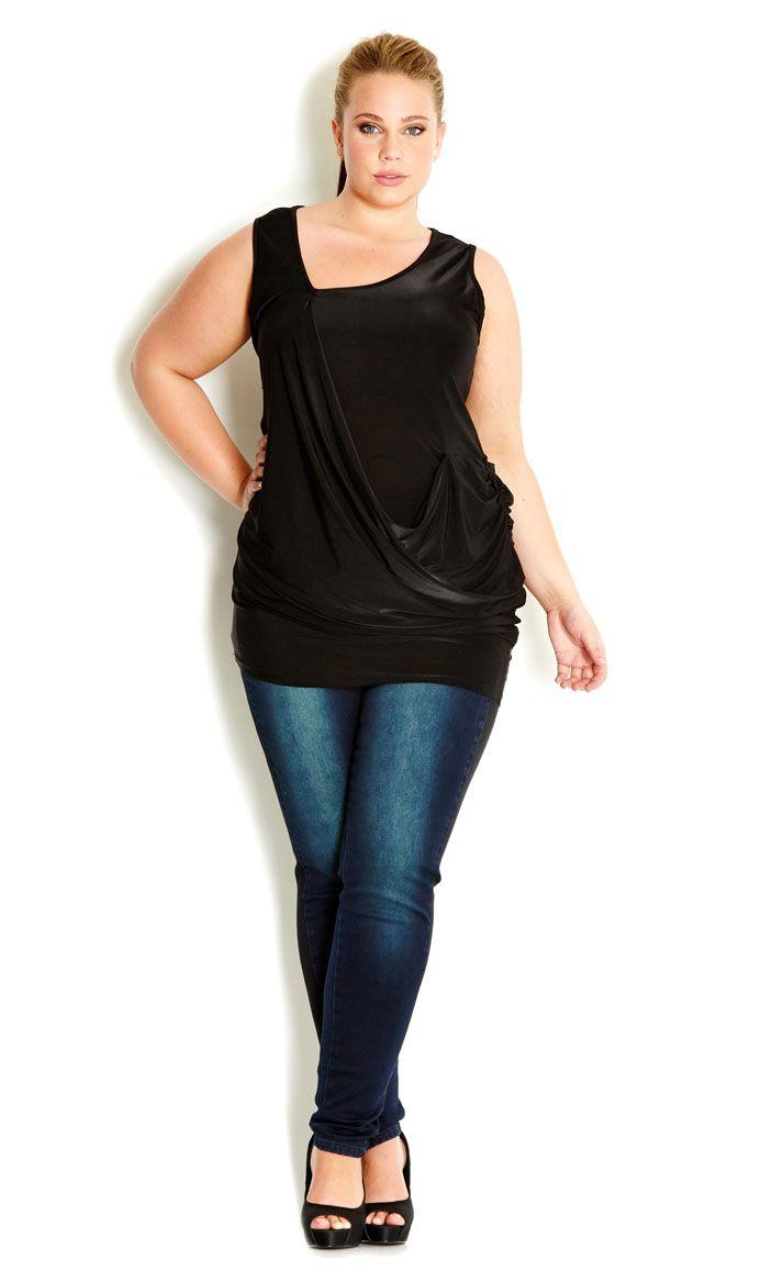 Moda con curvas para la ciudad. Camiseta lycra con plisados y pantalones vaqueros ajustados. ---- City Chic - CONTRAST SKINNY JEAN  - Women's Plus Size Fashion