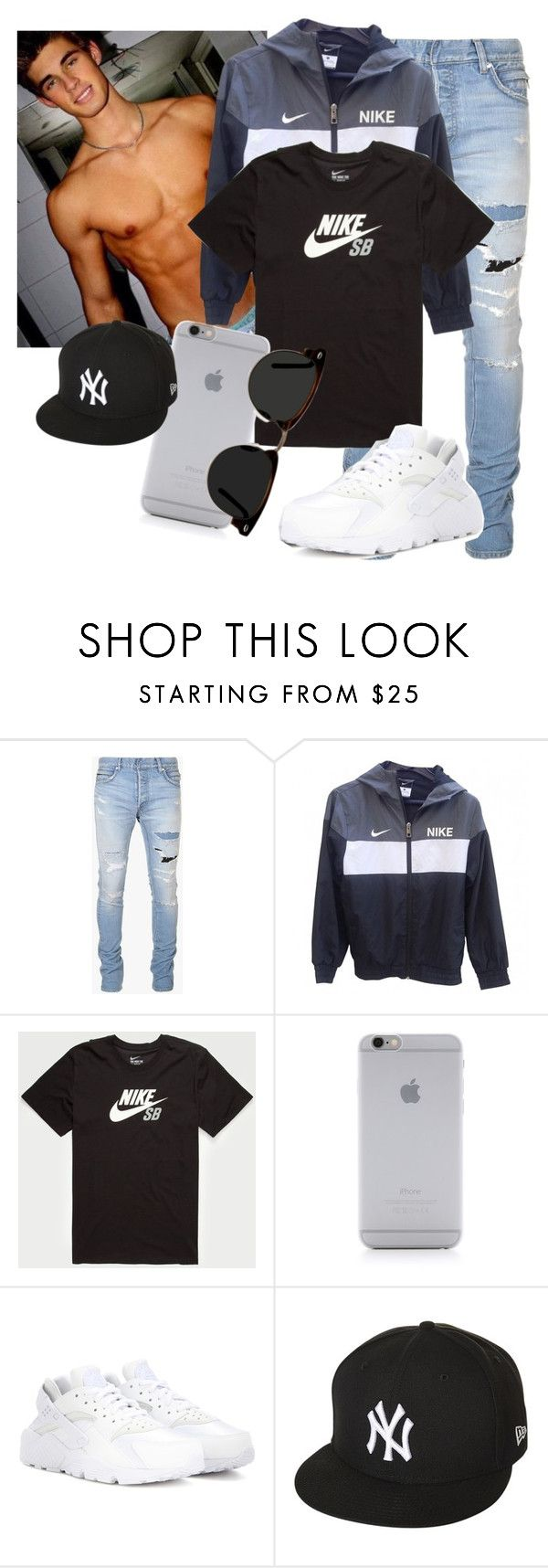 """Busy Day"" by ebony-kayla ❤ liked on Polyvore featuring Balmain, NIKE, Native Union, New Era, Ace, men's fashion and menswear"