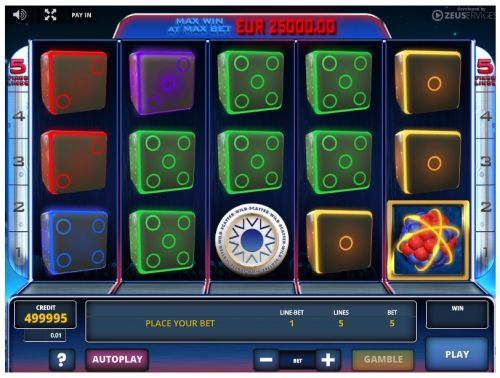 Dice Tronic videoslot casino game, playing dice in zero gravity.The white symbol acts as the Wild and Scatter symbols at the same time.It can replace any image in the Dice Tronic slot machine completing the winning line.Besides, if 3 or more of these icons land anywhere on .