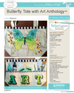 "Learn to paint and create this great ""Butterfly Tote"" from Art Anthology at www.willowwolfe.ca"