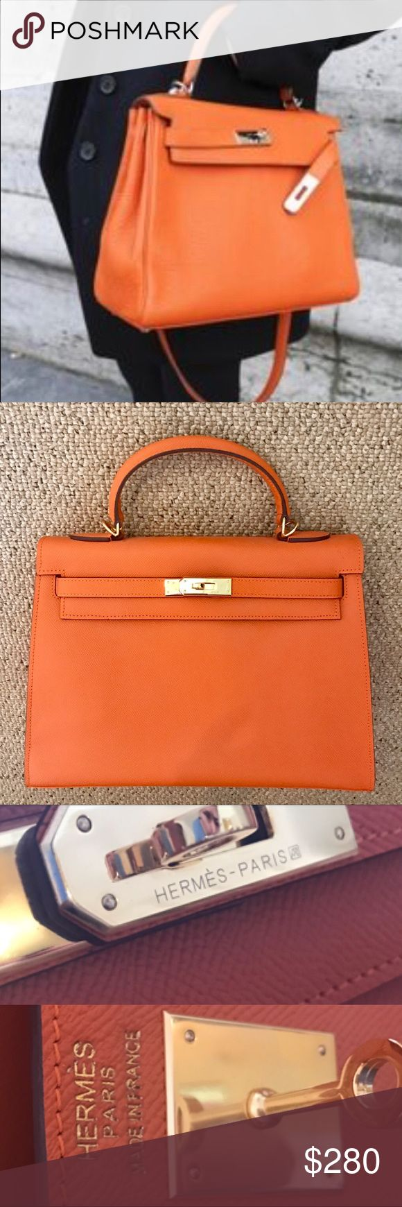 Hermes style Kelly tote 32cm Brand new , got as a gift never worn it no shoulder strap is include. price reflect authencity (sorry ) material is hard not the soft leather one Hermes Bags Totes