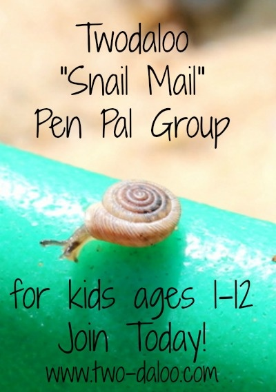 "Twodaloo ""Snail Mail"" Pen Pal Group for kids ages 1-12. Join today! www.two-daloo.com"
