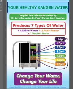 Your Healthy Kangen® Water produces 7 types of Waters: From Kangen® Drinking Water, Strong Kangen® Water 11.5pH to Beauty Water, these are: 4 Alkaline Waters 2 Acidic Waters 1 Neutral Water Now there are many various different ways to use all of these waters. To make things very easy for you I have produced an Easy to Read and Understand PDF File which lays out ALL the Facts and Uses Of Kangen® Water.