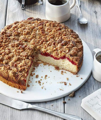 Raspberry Crumb Cake   Moist with a crunchy walnut-brown sugar topping, this cake packs just the right amount of tart raspberry flavor—although if raspberry isn't your jam, you can use any flavor of preserves you desire. After you blend together the cake batter, there's a step that asks you to combine some of it with the preserves. This is a neat trick that prevents the defined layer of raspberry from sinking to the bottom of the cake. Make sure your pan is well greased and floured for easy…