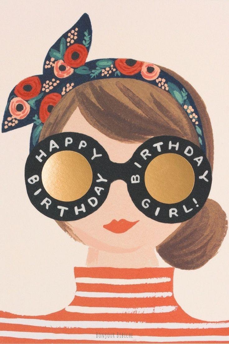 Une jolie carte de vœux pour souhaiter un joyeux anniversaire à une amie ou sa sœur ! La carte est signée Anna Bond pour @riflepaperco et disponible sur la boutique en ligne de @bonjourbibiche <3 Happy Birthday Girl! #anniversaire #fille #amie
