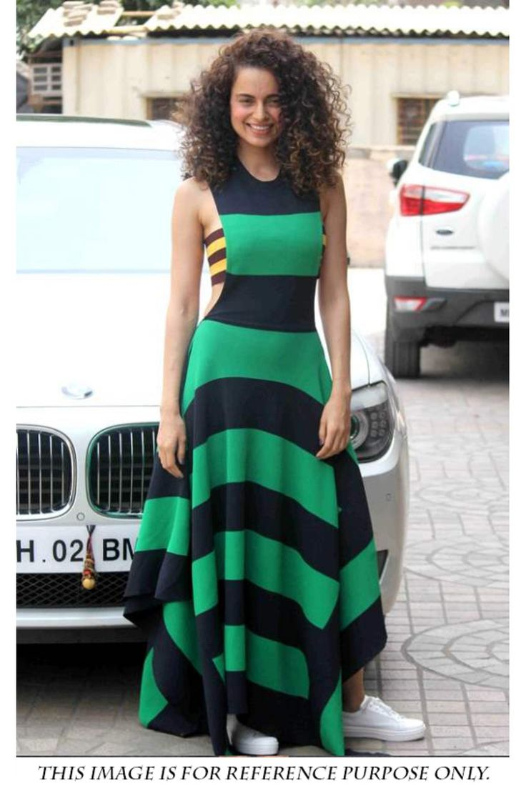 Bollywood Kangana Raut Casual Wear Lycra Gown in Green and Blue Colour...