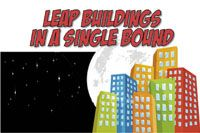 Leap buildings in a #2C2BBE  hay bales painted like buildings and kids climb, jump or tumble around them!