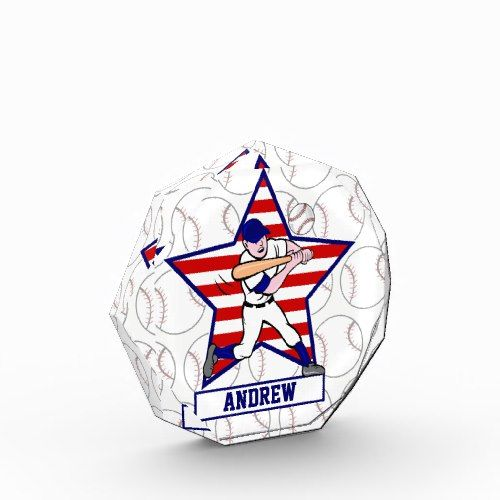 Personalized Stars and Stripes Baseball Batter v1 Acrylic Award
