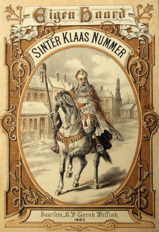 Vintage Santa Clas on a hourse  Sinterklaas 'illustratie' 1880