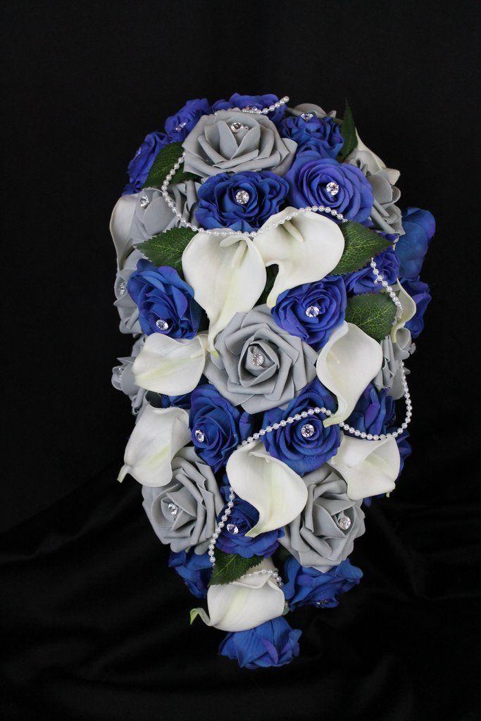 Blue Grey Cascading Rose & Calla Lily Brides Bouquet
