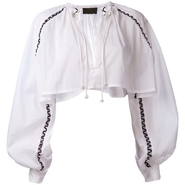 MICHEL KLEIN cropped peasant top ($520) ❤ liked on Polyvore featuring tops, shirts, long sleeve peasant top, v neck crop top, long sleeve cotton shirt, white crop top and embroidered peasant top
