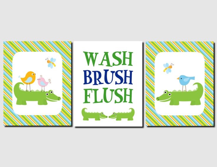Alligator Bathroom Art Kids Bathroom Wall Art Wash, Brush, Flush, Shared Bathroom Children's Bathroom Blue Green Orange Bathroom, Set of 3 by vtdesigns on Etsy