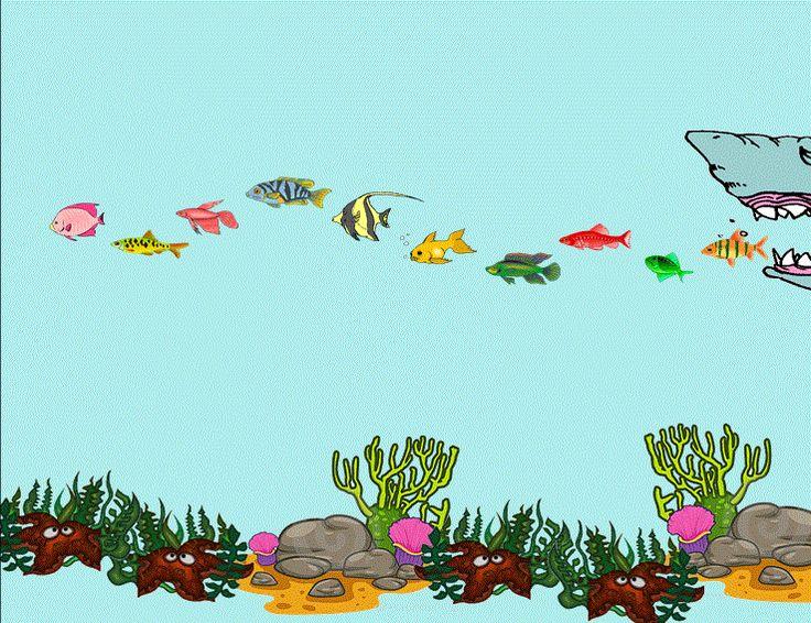 Als slot van een rekenles wordt het liedje van de 10 kleine visjes klassikaal gezongen en bewegen de kinderen mee met hun handen. (10 -> vinger; zwemmen -> zwembeweging; goed -> duim omhoog; niet mee -> wijsvinger weg en weer; blub blub... -> met handen happen) Telkens komt één kind naar voor om een kruis te zetten door een visje. (1ste leerjaar)