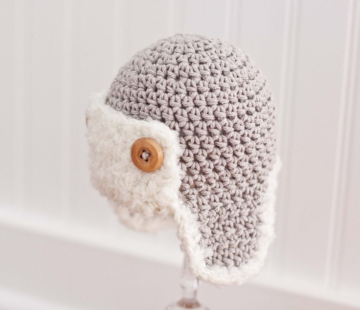 Crochet Newborn Aviator Hat Pattern : Crochet Boy Hat, Crochet Aviator Hat, Aviator Hat for Boy ...