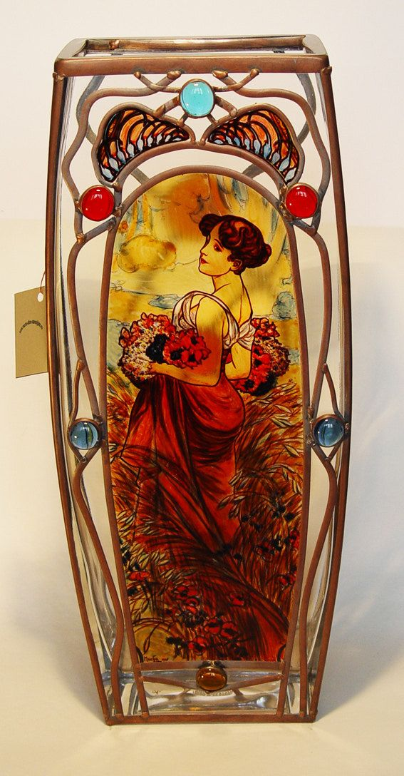 """14"""" x 5"""" (356 mm x 127 mm) Massive, glass, bright, hand-painted decorative vase, product of Czech glass factories. Precise copy of Mucha's artwork."""