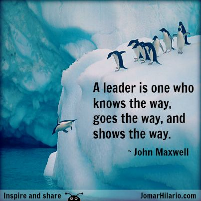 A leader is one who knows the way, goes the way, and shows the way.  ~John Maxwell