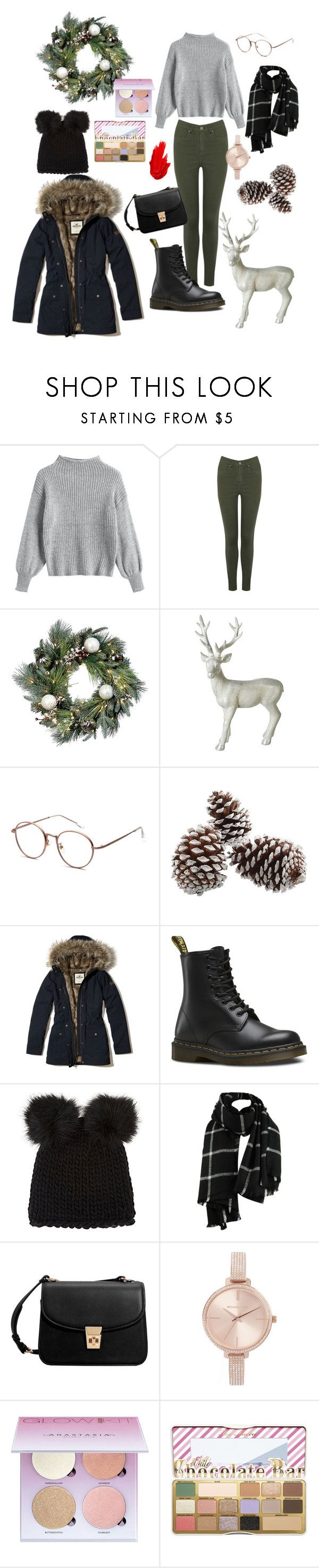 """Christmas Day outfit"" by amandakatherine12 ❤ liked on Polyvore featuring Oasis, Improvements, Parlane, Hollister Co., Dr. Martens, Barneys New York, MANGO, Michael Kors, Anastasia Beverly Hills and Too Faced Cosmetics"