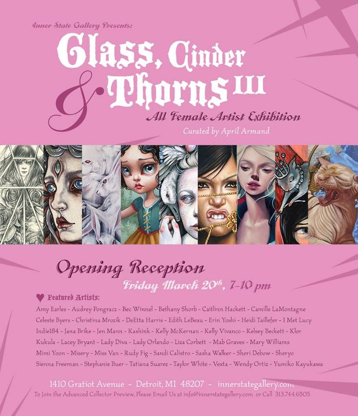 Glass, Cinder & Thorns - [Group Show] - Detroit - March 20th to April 25th:  Inner State Gallery 1410 Gratiot Ave. Detroit, MI 48207