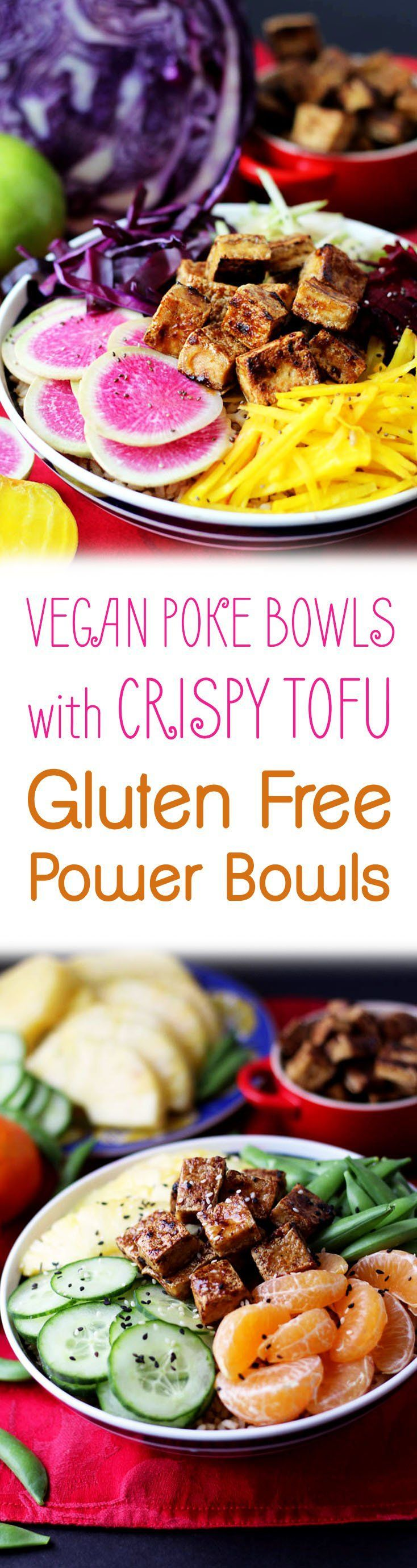 Try my three easy gluten free vegan poke power bowls with crispy tofu. #tofu #vegan #plantbased #pokebowls #poke #glutenfree #healthylunch #lunch #dinner #nourish #healthyfood #healthyeating #balanced #wholefoods