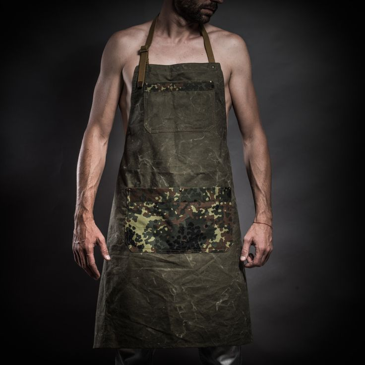 Canvas apron with camouflage pockets and soviet army belts by Kruk Garage by KrukGarage on Etsy