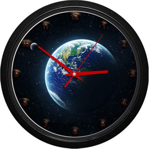 Ceas cu planeta Pamant    Ceas de perete cu planeta Pamant si Luna, vazute din spatiu.