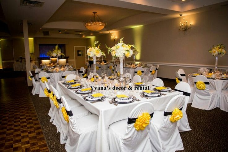 black and yellow wedding table setting by yvanas decor