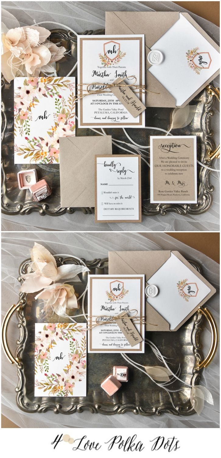 print yourself wedding invitations kit%0A Eco Wedding invitation with floral printing in boho style  nude  neutrals   boho