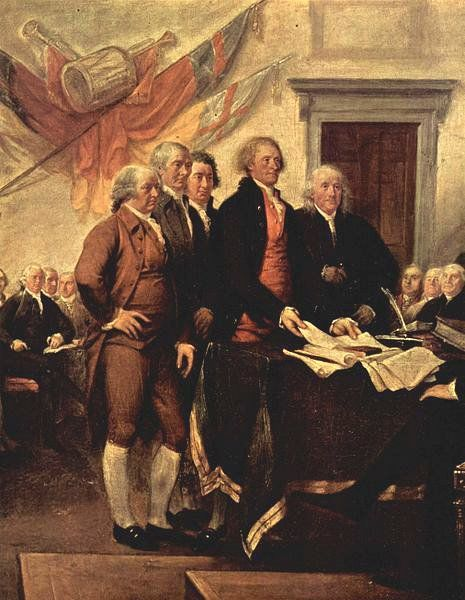 Committee of Five who created the Declaration of Independence: John Adams, Robert Sherman, Robert R. Livingston, Thomas Jefferson, and Benjamin Franklin.
