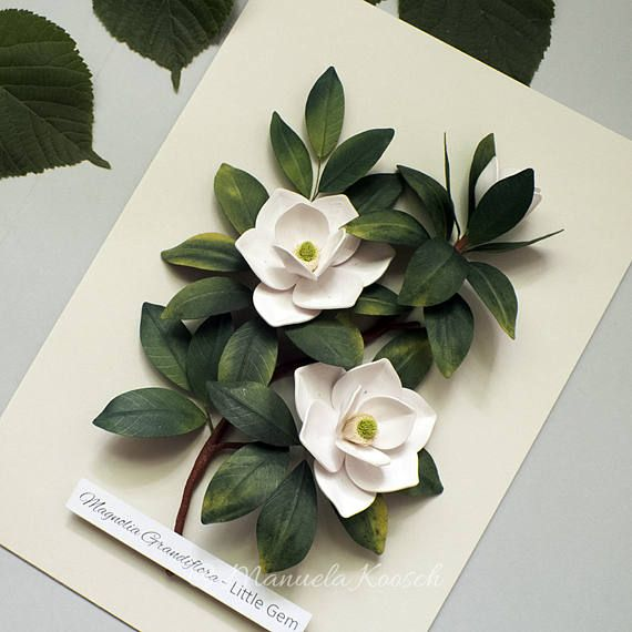 White Magnolia Flowers Botanical Illustration Wall Art White Green Decor Quilled Paper Magnolia Paper Wedding Anniversary Gift For Her Paper Quilling Flowers Paper Quilling Designs Quilling Designs