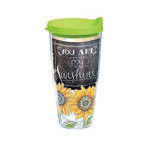 Tervis Sunshine Sunflowers Tumbler With Travel Lid 24 Oz Clear