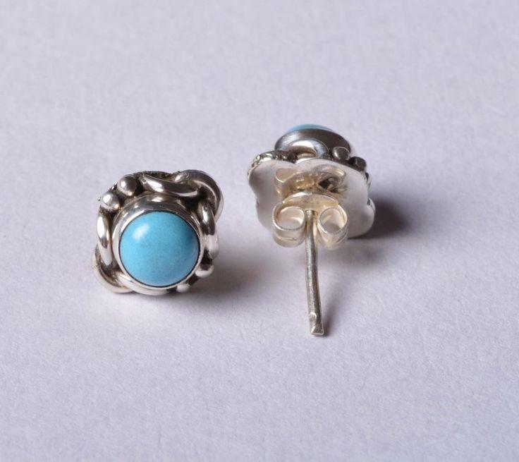 925 Solid Sterling Silver Stud Natural Turquoise Gemstone 1.8 CM JSS-46 #JaipurSilver