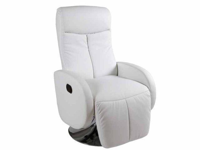 Sill n relax blanco polipiel y acero cerrado 70x93x116 cm for Sillon reclinable blanco