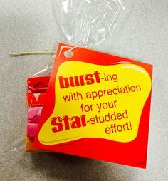 """Bursting with appreciation for your star-studded effort"" customer service week 2015   https://www.etsy.com/listing/456847440/starburst-gift-tag?ref=shop_home_active_2"