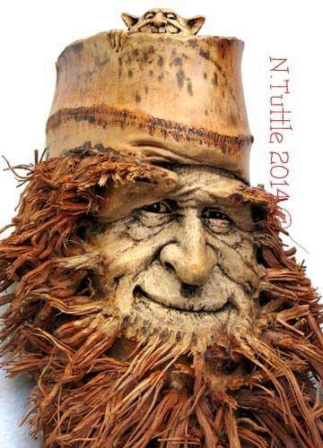ORIGINAL WOOD SPIRIT CARVING BAMBOO TREE ROOT WIZARD GARGOYLE OOAK NANCY TUTTLE
