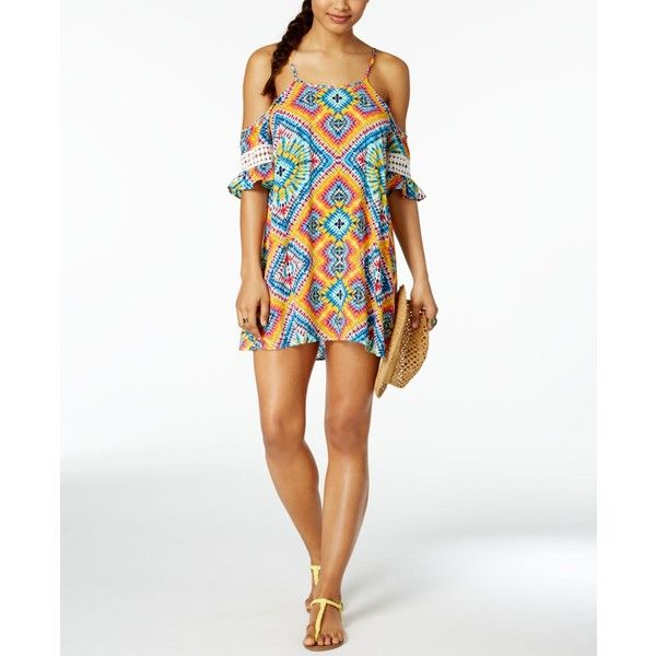 Jessica Simpson Surfside Off-The-Shoulder Cover-Up Dress ($50) ❤ liked on Polyvore featuring swimwear, cover-ups, multi, beach cover up, ruffle swimwear, flounce swimwear, jessica simpson swimwear and off-the-shoulder swimwear