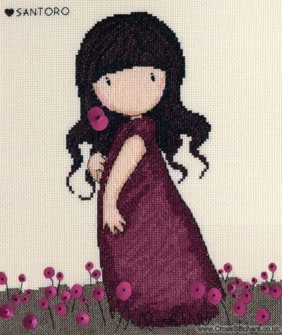 Gorjuss - Pink Poppy - Cross Stitch Kit from Bothy Threads